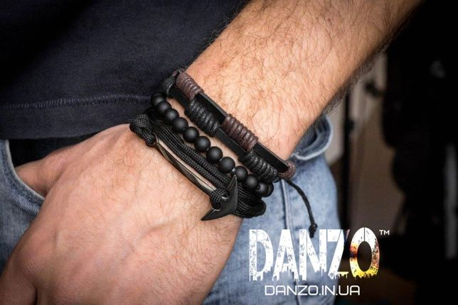 Браслет кожаный мужской mod.OldSaint чёрный комплект из 3х браслетов