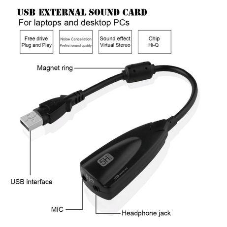 Звуковая карта внешняя USB Digital 5Hv2 7.1 3D sound card adapter плат
