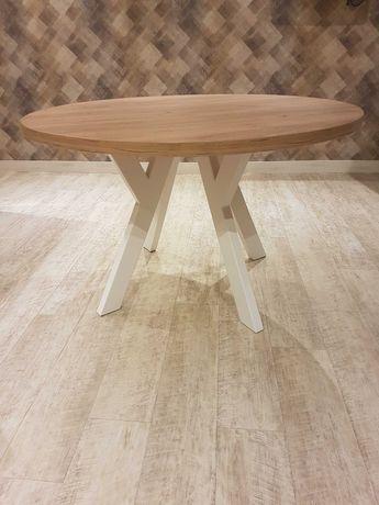 NOWY stół okrągły, 120cm,gruby blat drewniany, metalowe białe nogi,