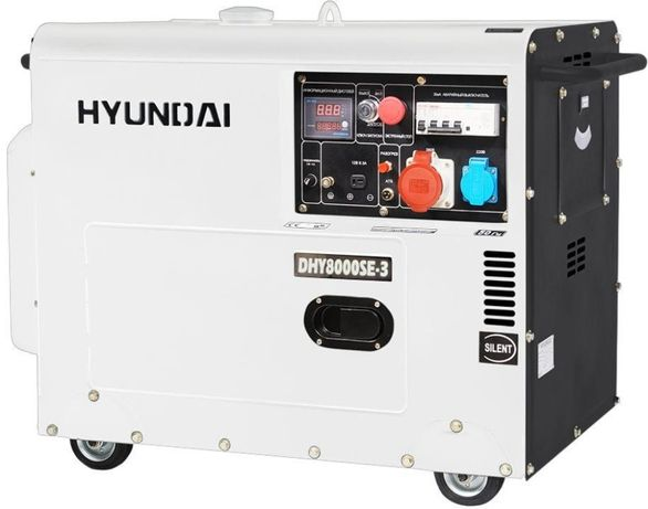 Генератор дизель в шумкорпусі на 3 фази HYUNDAI DHY8000SЕ-3 на 6,5 кВт