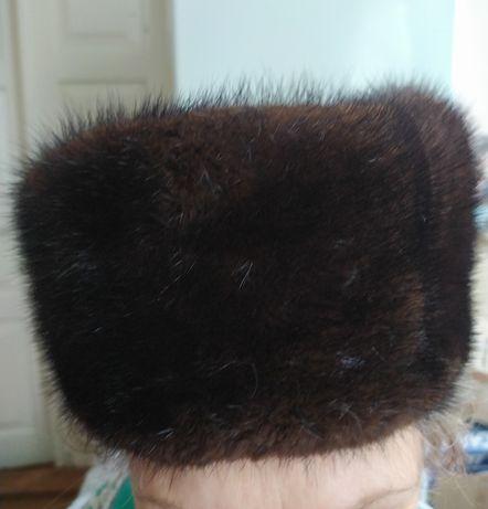 Шапка норковая зимняя меховая, натуральная норка 54-56р