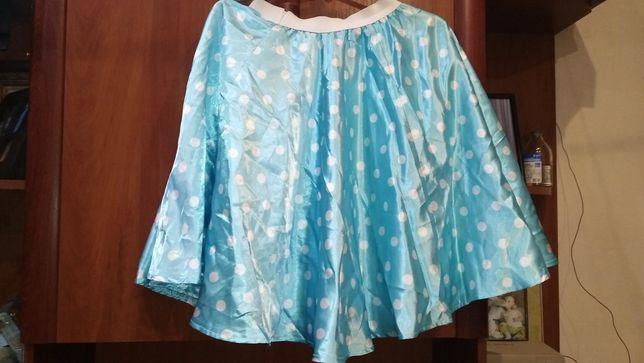 Юбка стиляги в горошек голубая 152 см