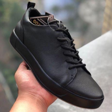 Мужские кожаные кроссовки кеды Ecco Soft 8 LX, чёрн, весна. Разм.40-44