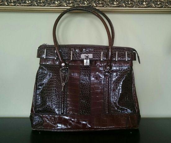 IDEALNA torebka brązowa wężowa kuferek Monnari
