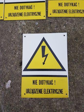 Tablica metalowa PRL Nie dotykać urządzenie elektryczne
