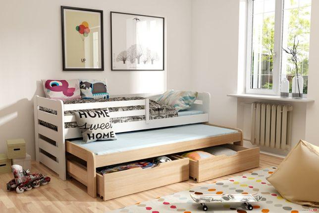 Drewniane łóżko dla dzieci Happy 2 osobowe materace gratis !