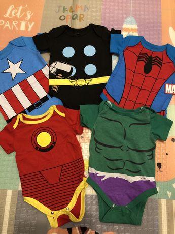 Боді Marvel на 6 міс Капітан Америка,Людина павук, Залізна людина, Тор