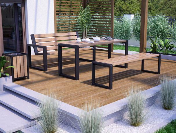 Meble ogrodowe tarasowe ławki ze stołem 180 cm