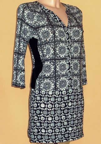 Sukienka - tunika wyszczuplajaca - czarno biała marki NEXT r.40