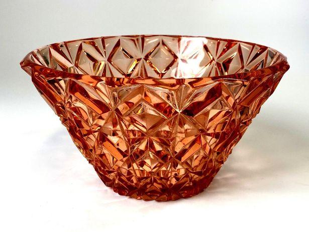 Duża misa owocarka vintage szkło rozalinowe różowe