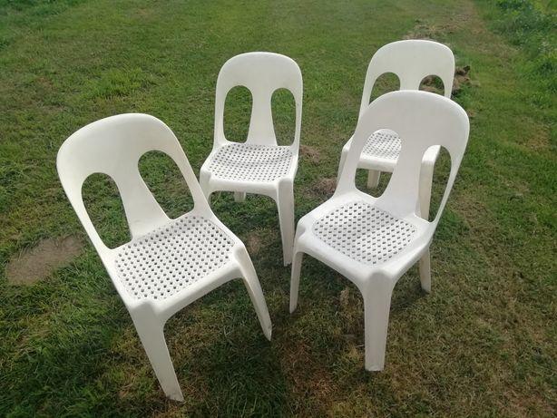 Krzesła 4 sztuki plastikowe ogrodowe tarasowe turystyczne 1981 rok USA