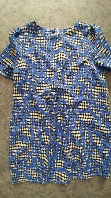 Sukienka wzorzysta boho vintage niebieska biało czarna siatka XXL
