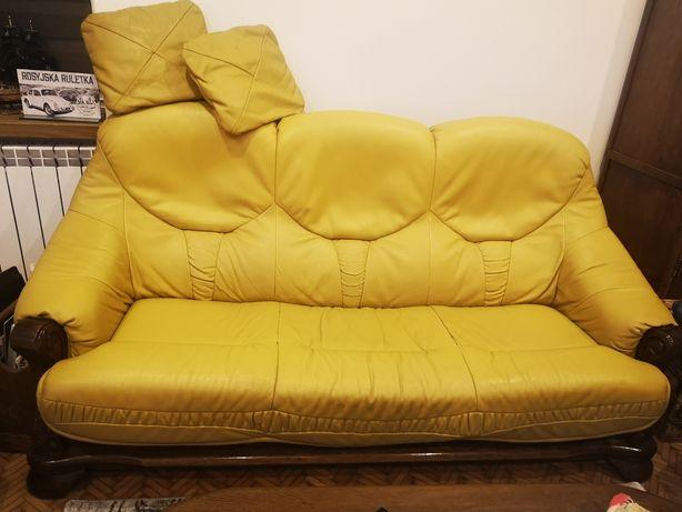 KLER Komplet kanapa + 2 fotele skóra