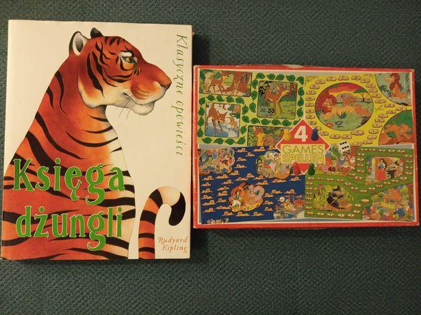 Gry planszowe 4 w 1 + książka Księga dżungli.