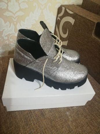Ботинки, туфли нат.кожа серебро 38-39р