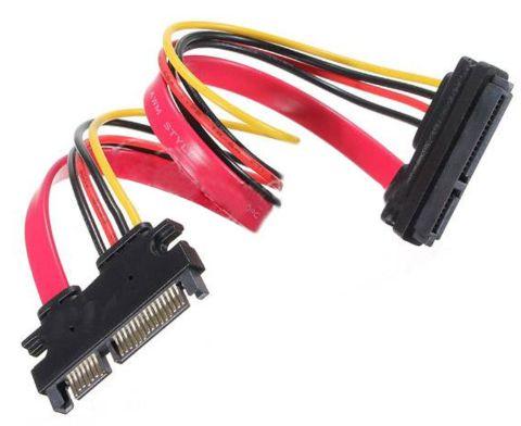 Кабель удлинитель 30/50см 22-pin (7+15) SATA Male to Female DATA/Power