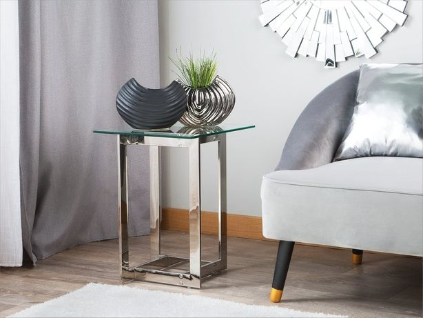 Mesa de apoio prateada com tampo de vidro CRYSTAL - Beliani