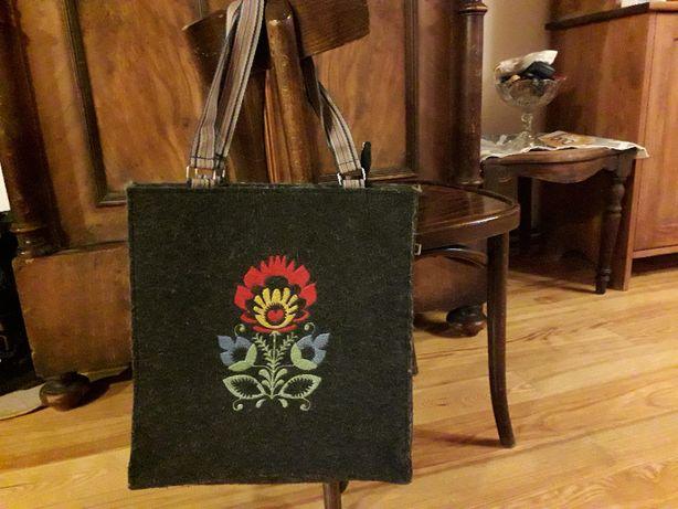 Piękna torebka filcowa shopper folk firmowa HOCA