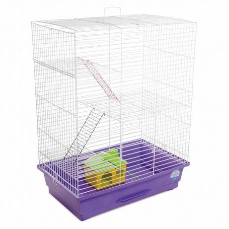 Клетка для грызунов Нюра с домиком белая / фиолетовая, 44х27х59