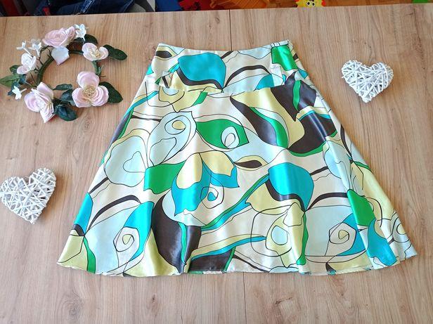 Kolorowa letnia spódnica 42 XL satynowa rozkloszowana lato