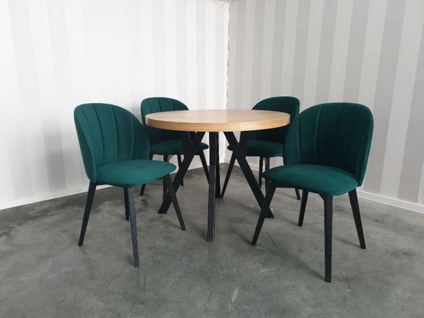 Krzesło tapicerowane zielona butelka loftowo skandynawskie nowe