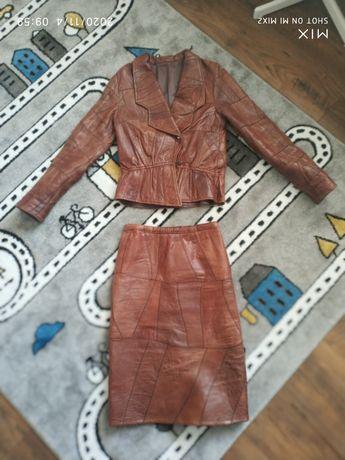 Kurtka skórzana i spódnica, Vintage, komplet