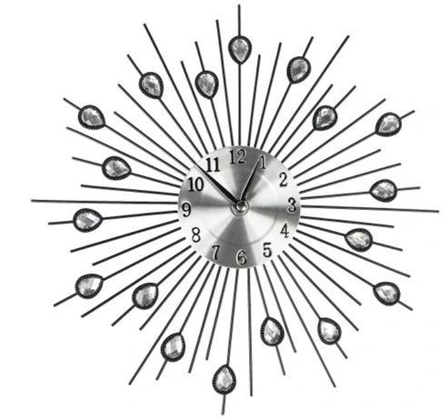 Zegar ścienny na Ścianę Kryształki Czarny 30cm