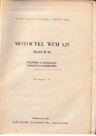 Instrukcja obsługi motocykla wfm M-06 125