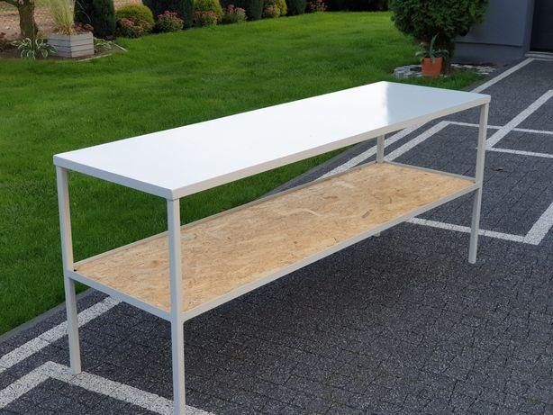 Metalowy stol warsztatowy 2.5×0.6m roboczy garazowy spawalniczy regal