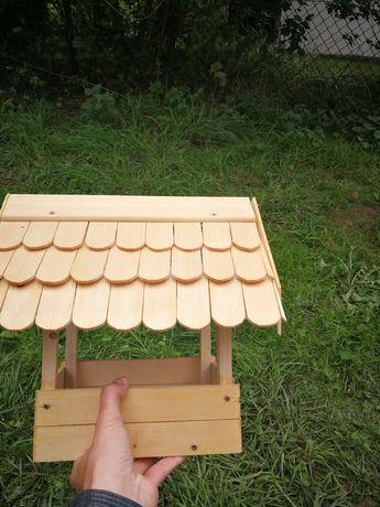 Karmnik drewniany hand made dla ptaków budka domek
