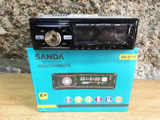 Auto-rádio universal (1 DIN) com Bluetooth, USB, Cartão memória, etc.