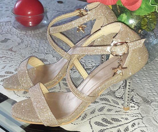 Sandały złote r33 NOWE