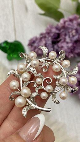 Брошка брошь серебро срібна перли жемчуг
