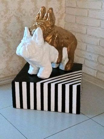 """В лофт гостинную Большая статуэтка """"бронза"""" статуя бульдоги журнальный"""