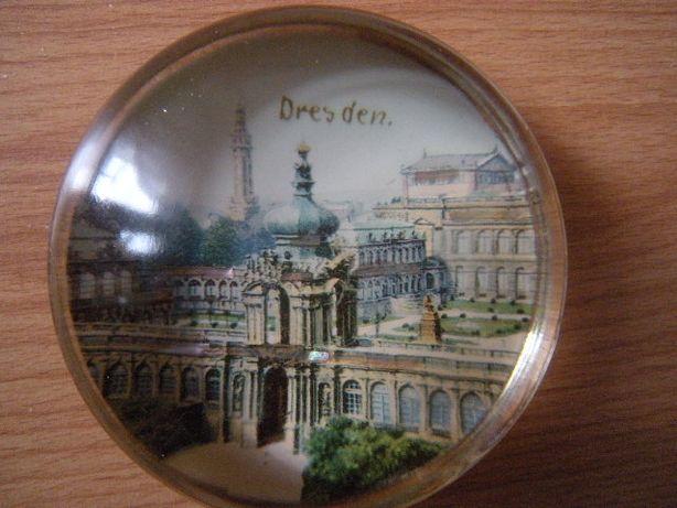 stary niemiecki szklany przycisk przed wojenny drezno przedwojenny