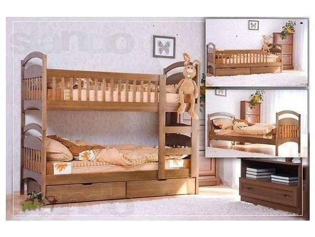 Двухьярусная  кровать  с ящиками и матрасами