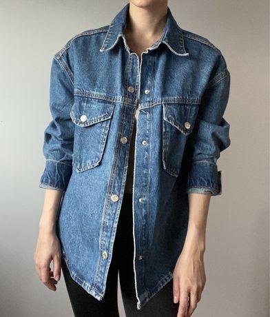 Kurtka koszulowa niebieski gruby jeans Zara XS oversize