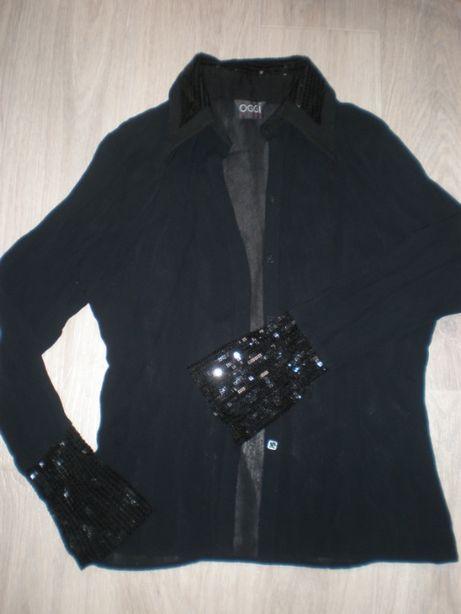 Шифоновая черная рубашка,44р.S( OGGI)