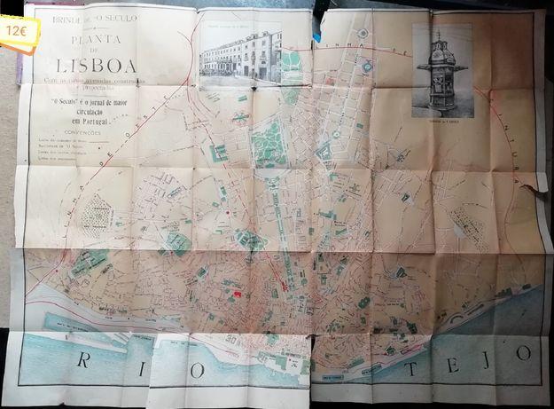 Livros antigos, mapa Lisboa, Fialho Almeida, João Grave, Tolstoi
