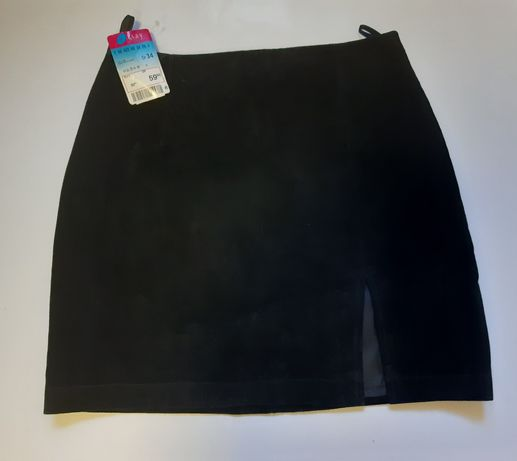 Spódnica czarna skórzana Orasy nowa naturalny zamsz XS S