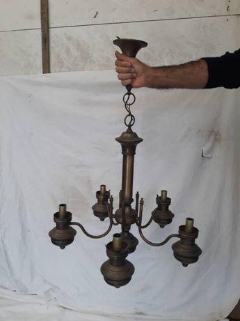 Candeeiro de sala em cobre com 5 braços