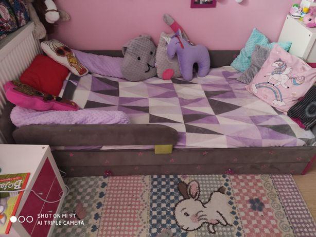 Łóżko z szufladą tapicerowane dla dziewczynki 180/90 z materacem
