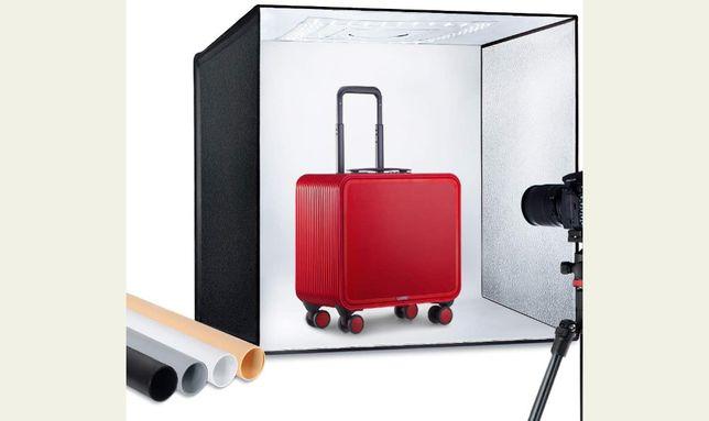 Box para fotografia produto 60x60x60cm iluminação caixa fundos vinil