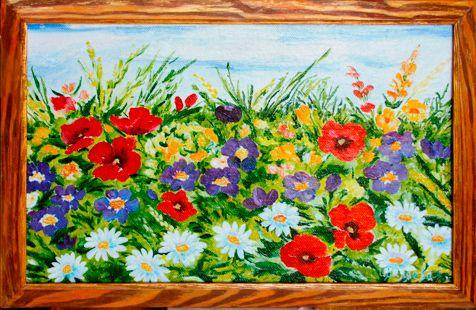 "Картина ""Цветущий луг"" (цветы) 24х44 см, масло, холст"