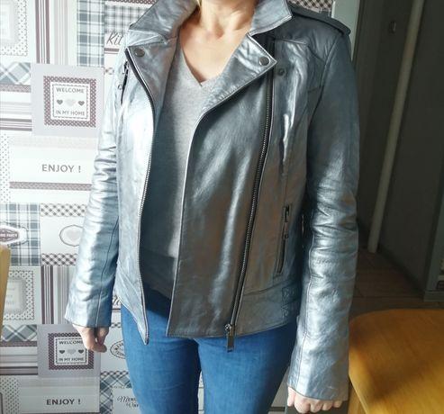 Unikatowa ramoneska kurtka nowa srebrna  skóra naturalna, rozmiar L