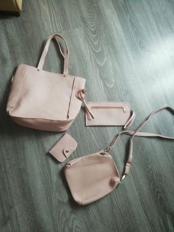 Zestaw torebki portfel nowe pudrowy roz