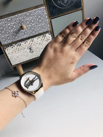 Zegarek Lacoste damski biały ze złotem pozłacany