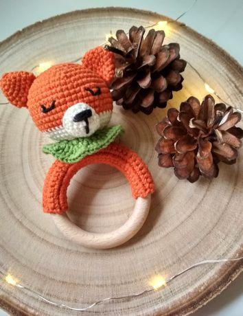 Grzechotka Lisek handmade ręcznie robione szydełkowe