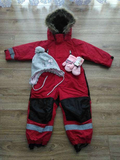 Kombinezon zimowy szwedzki firmy Lindex + czapka H&M i nowe rękawiczki