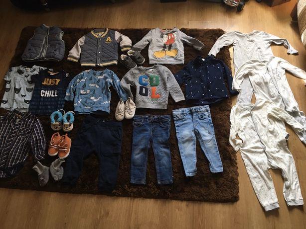 Zestaw ubran spodnie jeansy bluza buty pizama 80-86